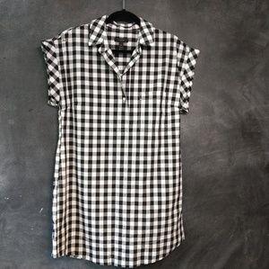 J. CREW   Black/White Buffalo Check Shirt Dress PL